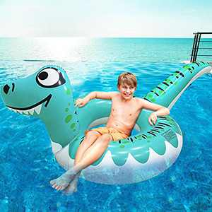 90'' Large Dinosaur Pool Floats Inflatables Swim Ring Party Toys for Teens Boys Girls Swimming Pool Rings for Kids Summer Beach Floaties Toy Pool Float Raft Lounge for Adults Kids