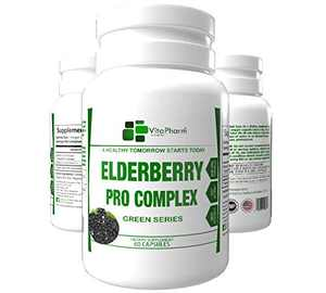 Elderberry Immune Booster Pro Complex | VitaPharm Nutrition | 5:1 Ratio | 6000mg Equivalent Daily Serving | 3000mg Per Capsule| Herbal Immune Defense Supplement | Powerful Antioxidant | Vegan Friendly