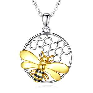 """CELESTIA Sterling Silver Bee Necklace for Women, Bee Your Love Honeybee Animal Pendant Necklaces Gifts for Her - 18"""" Chain"""