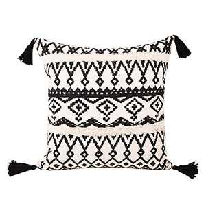 cygnus Boho Decor Tufted Throw Pillow Covers 18x18 inch Cotton Woven Morocco Cushion Cover Black and Cream Farmhouse Pillow Covers (Black and White, 18x18 inch)