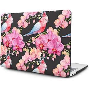 OneGET Laptop Case for MacBook Pro 13 inch Case 2016 2017 2018 2019 Release A2159 A1989 A1706 A1708, Flower Pattern Plastic Hard Shell Case with Keyboard Cover & Screen Protector (F26)
