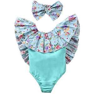 HIHA Baby Onepiece Swimsuit, Toddler Girl Ruffle Swimwear Backless Rash Guard Bathing Suit (Green, 3T)