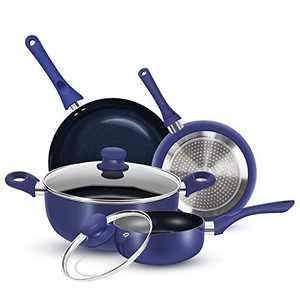 KUTIME 6pcs Cookware Set Non-stick Pots and Pans Set Blue Pan Non-stick Frying Pan Set Ceramic Coating Saucepan Stockpot with Lid, Gas, Induction Compatible