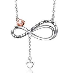 "CELESTIA Sterling Silver Infinity Heart Necklace for Women Gold-Plated Rose Flower Pendant Necklace Gifts for Women Girlfriend - 18"" Chain"