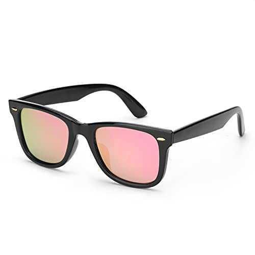 Myiaur Classic Sunglasses for Women Polarized Driving Anti Glare 100% UV Protection (Black Frame/ Pink Mirrored Polarized Lens)