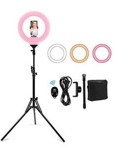 14'' Selfie Ring Light with Tripod Stand 78''& Phone Holder, 5600K Dimmable LED Camera Ringlight for Live Stream/Makeup/YouTube Video/Photography/TikTok, Compatible with Phones, Cameras and Webcams
