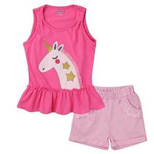 Meeyou Little Girls' Lovely Tank top & Essential Shorts Set (2T, Pink Unicorn)
