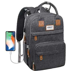 Diaper Bag Backpack,Hobest Baby Bags with USB Charging Port,Multifunctional Large Travel Back Pack with Changing Pad/Stroller Straps/Reflective Stripe/Insulated Pockets/Laptop Padded Pocket(Dark Gray)