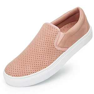 Womens Slip On Sneakers Loafer Shoes,Casual Memory Foam Perforated Slide On Shoes Pink
