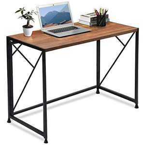 """ComHoma Folding Desk Foldable Computer Desk 40"""" Home Office Desk Modern Simple Writing Desk Table Space Saving Collapsible Desk, No Assembly Required, Brown"""