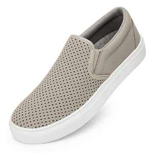 Womens Slip On Sneakers Loafer Shoes,Casual Memory Foam Perforated Slide On Shoes Grey