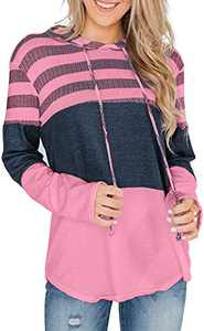 GULE GULE Women Long Sleeve Tops Hooded Pullover Hoodies Drawstring Striped Sweatshirts Pink XL