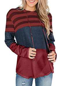 GULE GULE Women Long Sleeve Tops Pullover Striped Hoodie Patchwork Sweatshirts with Drawstring Red L