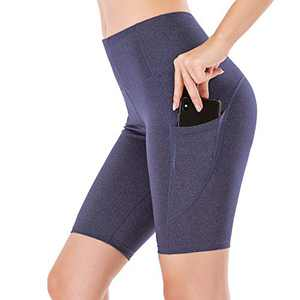 """Lianshp Yoga Shorts with Pockets for Women High Waist Tummy Control Athletic Workout Running Shorts 8"""" Navy Blue L"""