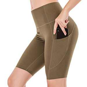 """Lianshp Yoga Shorts with Pockets for Women High Waist Tummy Control Athletic Workout Running Shorts 8"""" Army Green L"""