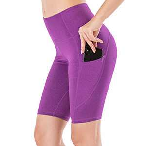 "Lianshp Yoga Shorts with Pockets for Women High Waist Tummy Control Athletic Workout Running Shorts 8"" Purple L"