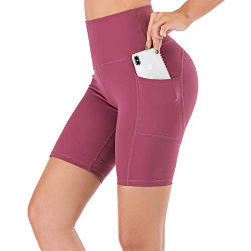 """Lianshp Yoga Shorts for Women High Waist Workout Sports Shorts Non See-Through Shorts with Pockets 8"""" Coral L"""