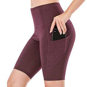 """Lianshp Yoga Shorts with Pockets for Women High Waist Tummy Control Athletic Workout Running Shorts 8"""" Wine Red S"""