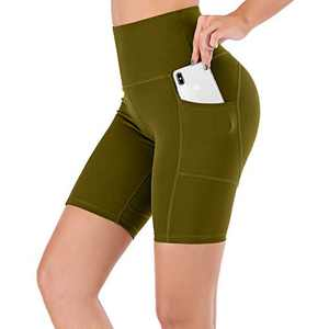 """Lianshp Yoga Shorts for Women High Waist Workout Sports Shorts Non See-Through Shorts with Pockets 8"""" Army Green XL"""
