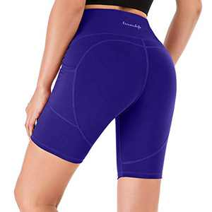 """Lianshp Running Shorts for Women Moisture-Wicking High Waisted Workout Sports Yoga Shorts with Pockets 8"""" Navy Blue M"""