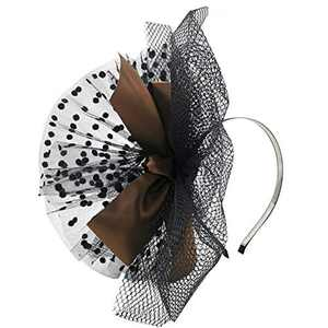 HIDOLL Fascinator Hat Feather Mesh Net Veil Party Hat Ascot Hats Flower Derby Hat with Clip and Hairband for Women (F-Brown)