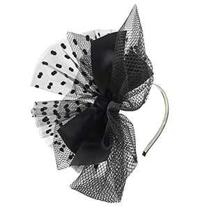 HIDOLL Fascinator Hat Feather Mesh Net Veil Party Hat Ascot Hats Flower Derby Hat with Clip and Hairband for Women (F-Black)
