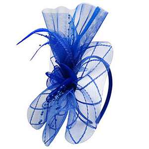 HIDOLL Fascinator Hat Feather Mesh Net Veil Party Hat Ascot Hats Flower Derby Hat with Clip and Hairband for Women (G-Blue)