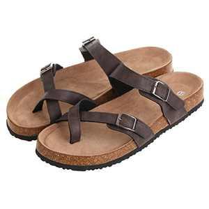 hitorat Women's Shoes Cork Double Buckle Slip on Comfy Slides Summer Sandals