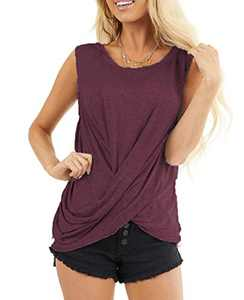 AMCLOS Womens Twist Front Tops Sleeveless Tunic Summer Casual Soft T-Shirts Scoop Cutout Back Blouses(Wine Red,L)