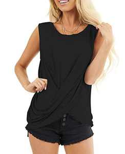 AMCLOS Womens Twist Front Tops Sleeveless Tunic Summer Casual Soft T-Shirts Scoop Cutout Back Blouses(Black,2XL)