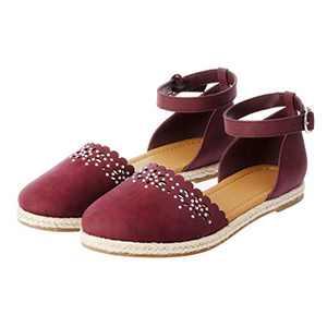 hitorat Womens Espadrilles Flat Sandals Hollow Closed Toe Buckle Sandles Sandalias Shoes