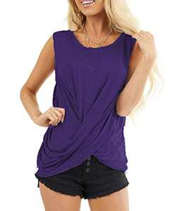 AMCLOS Womens Twist Front Tops Sleeveless Tunic Summer Casual Soft T-Shirts Scoop Cutout Back Blouses(Purple,M)