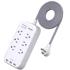 6 Outlets Power Strip Flat Plug with 3 USB Charing Ports (3.1A, 15W), 6Ft Braided Extension Cord, Wall Mountable Outlet Extender with Overload Protection Switch for Home Office Cruise Ship , White