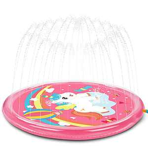 """Splash Pad Water Toy Sprinkler Mat Pool for Kids Toddlers, Splash Play Mat 67"""" Baby Swimming Pools Wading Pool for Fun Summer Outdoor Backyard Sprinkler Water Toy, Water Play for Ages 1 - 10 Year Old"""