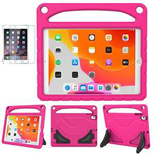 SUPLIK iPad 8th & 7th Generation Case, iPad 10.2 2020/2019 Case for Kids, Durable Shockproof Protective Handle Stand Case with Screen Protector for 10.2 inch iPad 7/8 Gen, Pink