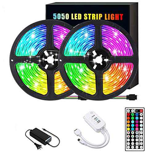 LED Strip Lights, Sonata Color Changing Rope Lights 32.8ft SMD 5050 RGB Light Strips with WiFi Controller Sync to Music, IP65, 24 Keys IR Remote Controller and 12V Power Supply for Bedroom, Home
