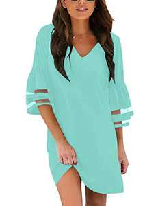 LookbookStore Women's Casual V Neck Mesh Panel 3/4 Tiered Ruffle Bell Sleeve Loose Short Shift Light Blue Dress Size Medium