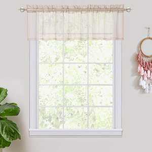 """Haperlare Short Sheer Curtains - Small Window Rod Pocket Semi Sheer Valance for Kitchen/Bedroom/Living Room - 54"""" W x 15"""" L, Taupe, One Panel"""
