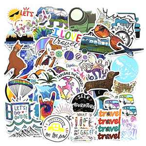 Travel Stickers for Luggage,Suitcase,Scrapbooking,Outdoor Camping Sticker for Hydroflask Water Bottle Hydro Flask Passport Vintage Country World Stickers Decal - 50pcs Pack