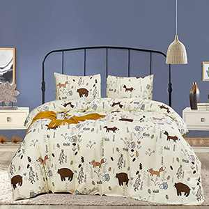 Wellboo Kids Animals Comforters Girls Boys Cartoon Bear Bedding Sets Queen Beige Yellow Fox Bed Sets Children Rabbit Woodland Forest Quilts Women Warm Cute Dorm Bed Comfroters Light Color Soft Health