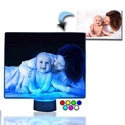 Innovatronix Personalized Acrylic Glass LED Photo Table Night Lamp - Laser-Engraved - Gift for Christmas, Wedding, Anniversary, Birthday, Mother's Day, Father's Day, Decor, Giveaways, Souvenir, Award