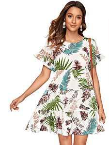 DIDK Women's Boho All Over Print High Low Flounce Sleeve Tunic Dress (X-Small, White)