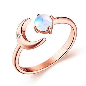 JIANGYUE Delicate Adjustable Open Moonstone Rings for Women Rose Gold Plated Cubic Zirconia Moon Rings for Girl Wedding Anniversary Birthday Jewelry Size 8