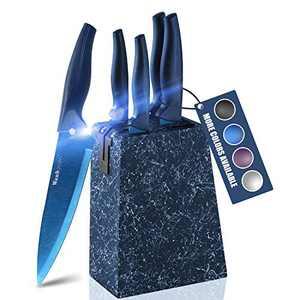 Wanbasion Marbling Blue Kitchen Knife Set Block, Kitchen Knife Set Block Wood, Professional Kitchen Knife Set Block with Knife Sharpener