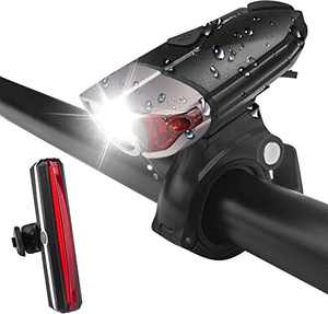 Lampelc USB Rechargeable Bike Head and Tail Lights Set, Waterproof Bike Front and Back Light, Super Bright Bike Headlight and Rear Bicycle Light Taillight