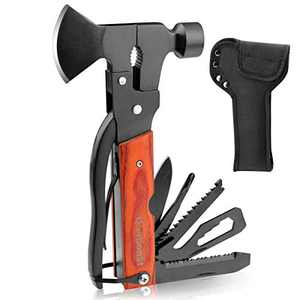 Camping Axe Multitool, Survival Gear Multi-Tool Hammer,Travelling Hiking Fishing Outdoor Tool with Gorgeous Wood Handle,Protable Survival Gear Kits for Camping, Emergency Escape Survival Tool