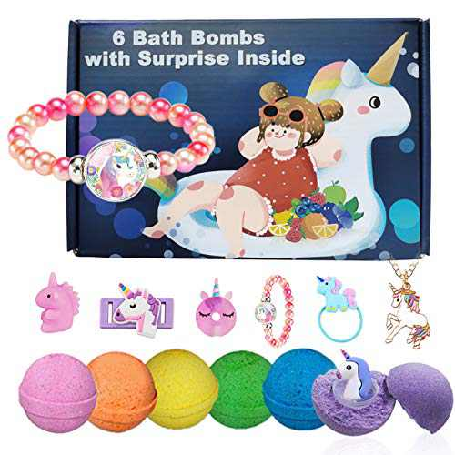 Kids Bath Bombs with Surprise Inside Unicorn Gifts Box for Girls with 6 Toys Necklace Bracelet Hair Rope Pen Natural Fruit Aromas Bloom Color No Fizzies Safe