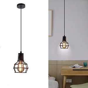 SHUNG YU Industrial Cage Pendant Light, Vintage Metal Ceiling Lamp Rustic Hanging Wire Cage Mini Light Fixture for Office Dining Room Living Room Kitchen Island Restaurant(Bulb not Included)