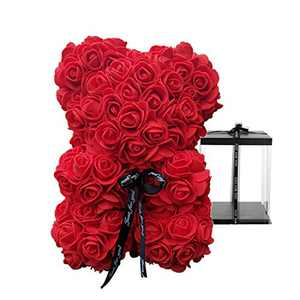 """Forever Rose Teddy Bear - 10 Inch Flower Bear with Box, Artificial Flowers, 10"""" Rose Bear Gifts for Women, Valentine's Day, Mother's Day, Birthday, Anniversary - Red"""