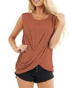 AMCLOS Womens Twist Front Tops Sleeveless Tunic Summer Casual Soft T-Shirts Scoop Cutout Back Blouses(Khaki,M)